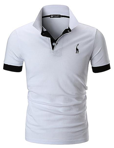 a8cf2dc2a6 STTLZMC Polo para Hombre de Manga Corta Casual Moda Algodón Camisas Cuello  en Contraste Golf Tennis  Amazon.es  Ropa y accesorios