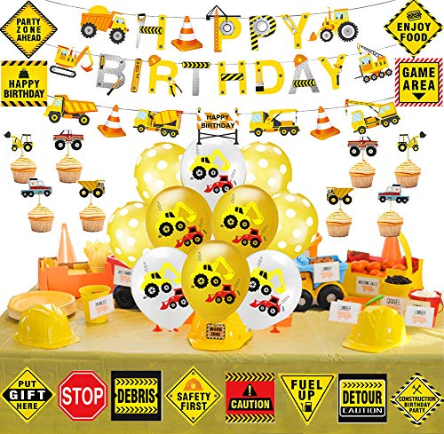 70 Pack Construction Birthday Party Supplies for Kids Construction Theme Birthday Party Boys Construction Theme Birthday Party Favors Supplies Tractor Banner Balloons Cupcake Toppers Excavators Bulldozers Dump Trucks Cement Trucks Party Decorations Kits Set for Boys Kids (Tractor Theme Party Supplies)