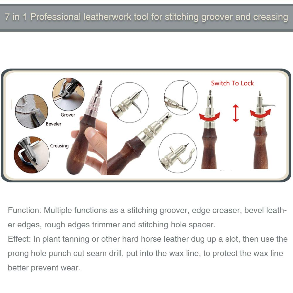 Caydo 127 Pieces Leather Craft Tools Kit with Instructions, Leather Sewing Tools, Punch Tools, Rivets Tools, Stamping Set and Wooden Handle Nylon Hammer for Leather Craft and Saddle Making Tools by Caydo (Image #6)
