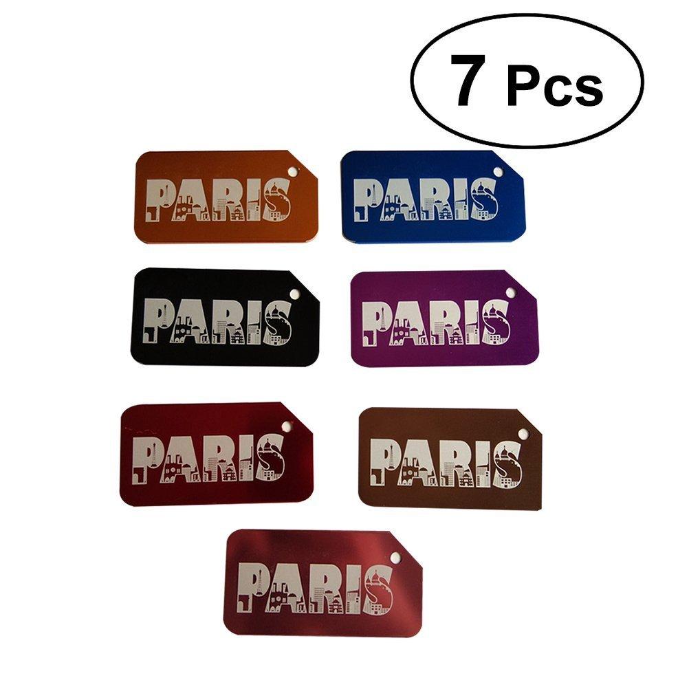 VORCOOL 7Pcs Luggage Tag Aluminum Travel Luggage Baggage Handbag Tag Fashion Environment Friendly Travel Luggage Tags by VORCOOL (Image #1)