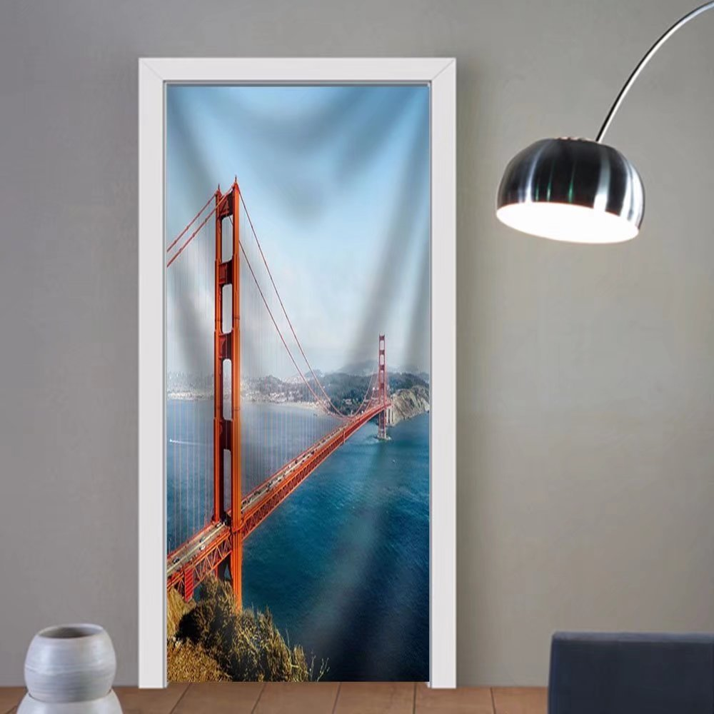 Gzhihine custom made 3d door stickers Golden Gate Bridge San Francisco California Usa. Fabric Home Decor For Room Decor 30x79