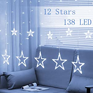 Twinkle Star 12 Stars 138 LED Curtain String Lights, Window Curtain Lights with 8 Flashing Modes Decoration for Christmas, Wedding, Party, Home, Patio Lawn, White