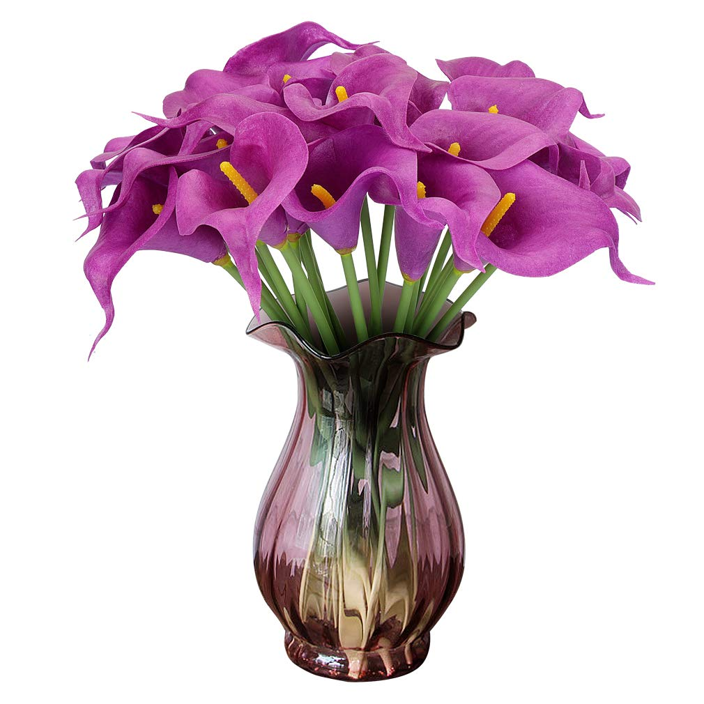 RERXN Artificial Calla Lily Real Touch PU Flowers Bouquet Latex Floral for Home Wedding Party Decoration. Pack of 20 (Purple)