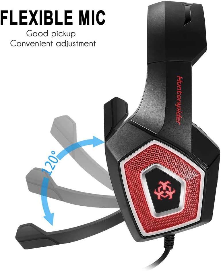 Alician V-1 Gaming Headset RGB Illuminated Wired Headphones Universal for Smart Phone Notebook red Electronic Accessories