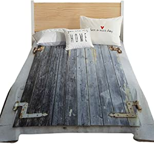 Hiiiman Shutters Queen Size Flat Sheet Only, Wooden Window Shutters with Shabby Paint Rusty Antique Traditional Village Picture Ultra Soft and Comfortable Microfiber Top Sheet, Charcoal