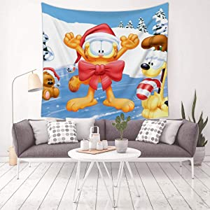 VIPODER Tapestry Wall Hanging Decor Blanket Cold Day Garfield and Odie Decorations for Living Room Bedroom Home Decor Tapestries 59.1 X 59.1 Inch