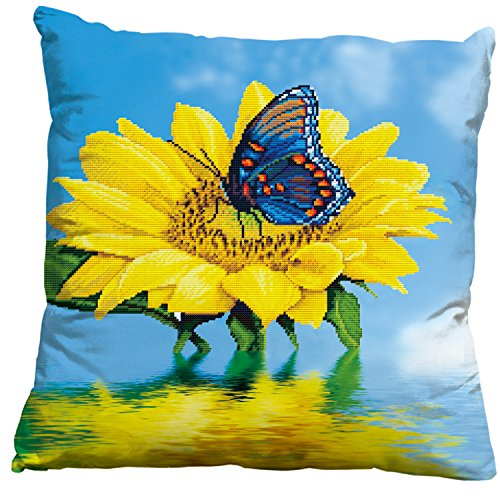 Butterfly Sunflower 3d Stamped Cross Stitch Throw Pillow Case Cushion - Pattern Stitch Butterfly Cross