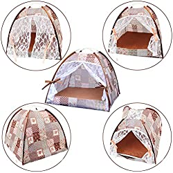 QBLEEV Pet Supplies Dog Kennel Cat Litter Breathable Tent Nest Pad With Ice Silk Mat (Coffee Flowers, S)