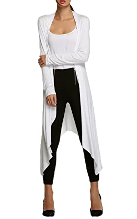 TYERY Jersey De Manga Larga Abrigo,Blanco,S