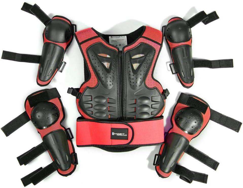 WOSAWE Gilet Armatura da Moto per Bambini Protezione di Motocross con Gomitiere e Ginocchiere per Scooter Ciclismo Pattinaggio Sciare Style2 Rosso