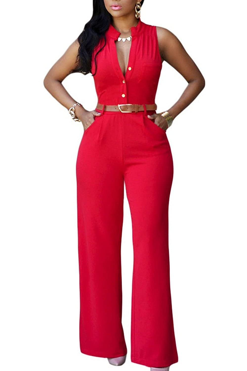 Zilcremo Elegant Sleeveless Full Summer Jumpsuits Overall for Women with Belt CAFZ596