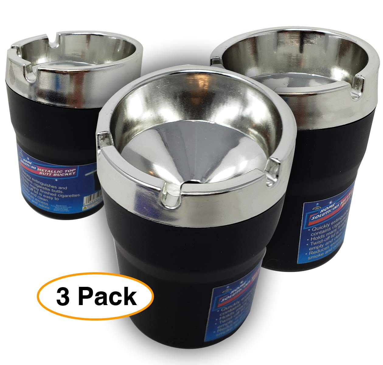 Home Solutions Metallic Portable Car Ashtray (3 Pack) Vehicle auto Cup Holder Ashtrays Plastic Top Butt Bucket