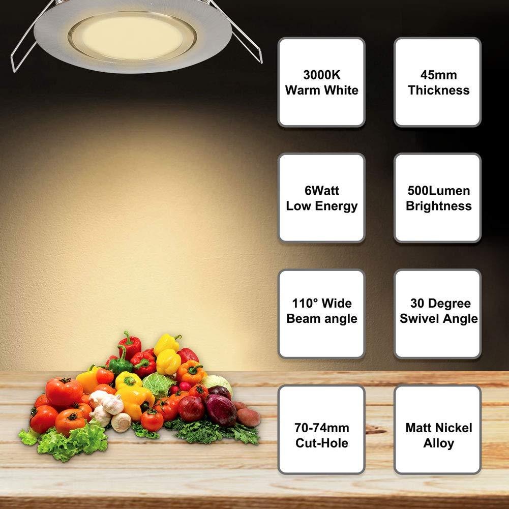 Spots LED Éclairage 6W encastré IP44 3000K blanc chaud Matt Nickel LED Plafond Spotlights (aucun pilote nécessaire) pour bain/douche/soffites/Cuisine