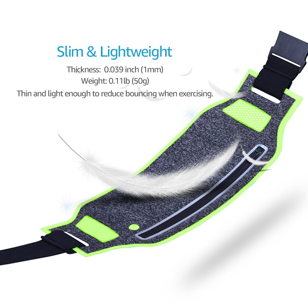 Water Resistant Reflective Adjustable Elastic Belt Sport Exercise Waistband for iPhone X 8 7 Plus Samsung S9 Plus Note 8 in Running Gym Marathon Cycling WATACHE Slim Waist Fanny Pack