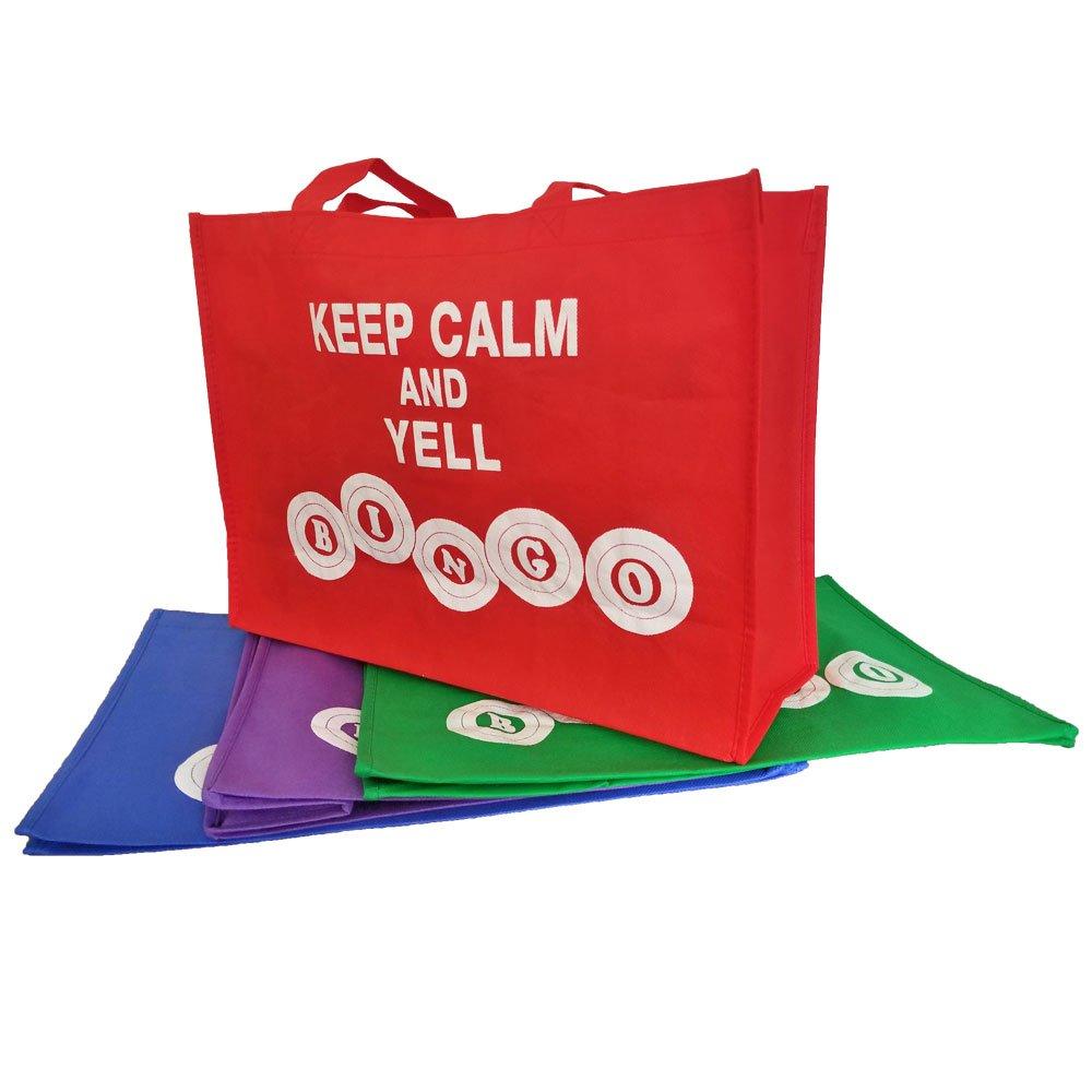 Keep Calm and Yell Bingo Tote Bag - 4 Pack - Blue/Green/Purple/Red