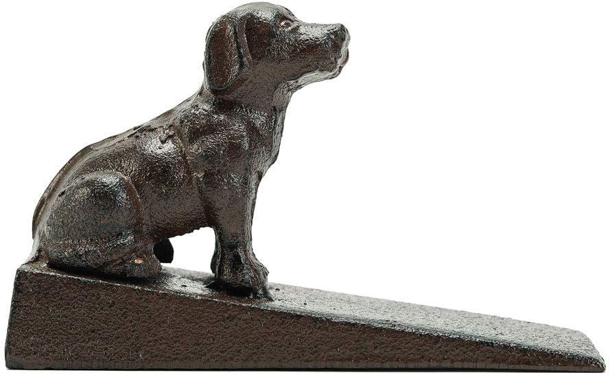 Sungmor Heavy Duty hierro fundido Cute Dog Topes de puerta 15.3 × 5 × 9.5 cm, estilo antiguo   Decorativo lindo animal estatua puerta tapón cuña   Soporte de puerta a prueba de viento para patio patio