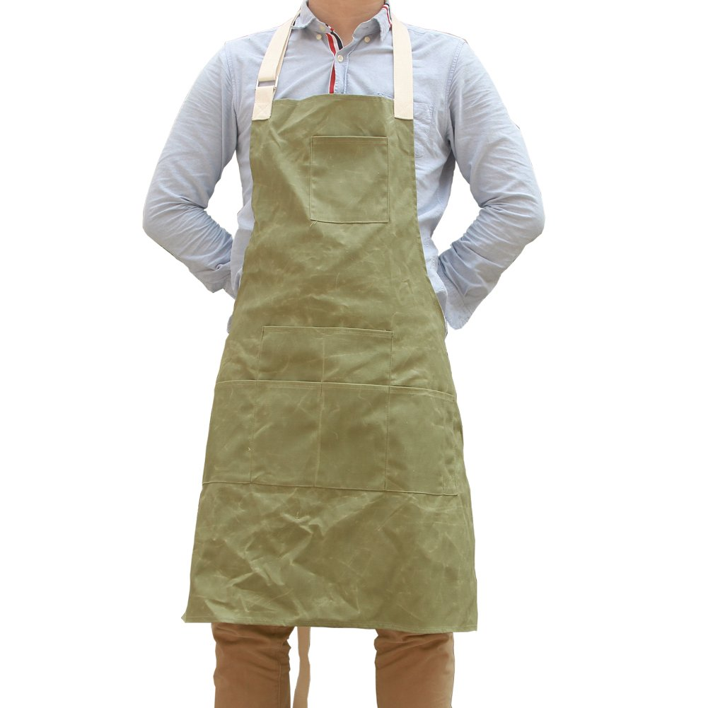 Unisex Waxed Canvas Aprons Bib with Six Pockets Waterproof Shop Tool Apron WQ05-1