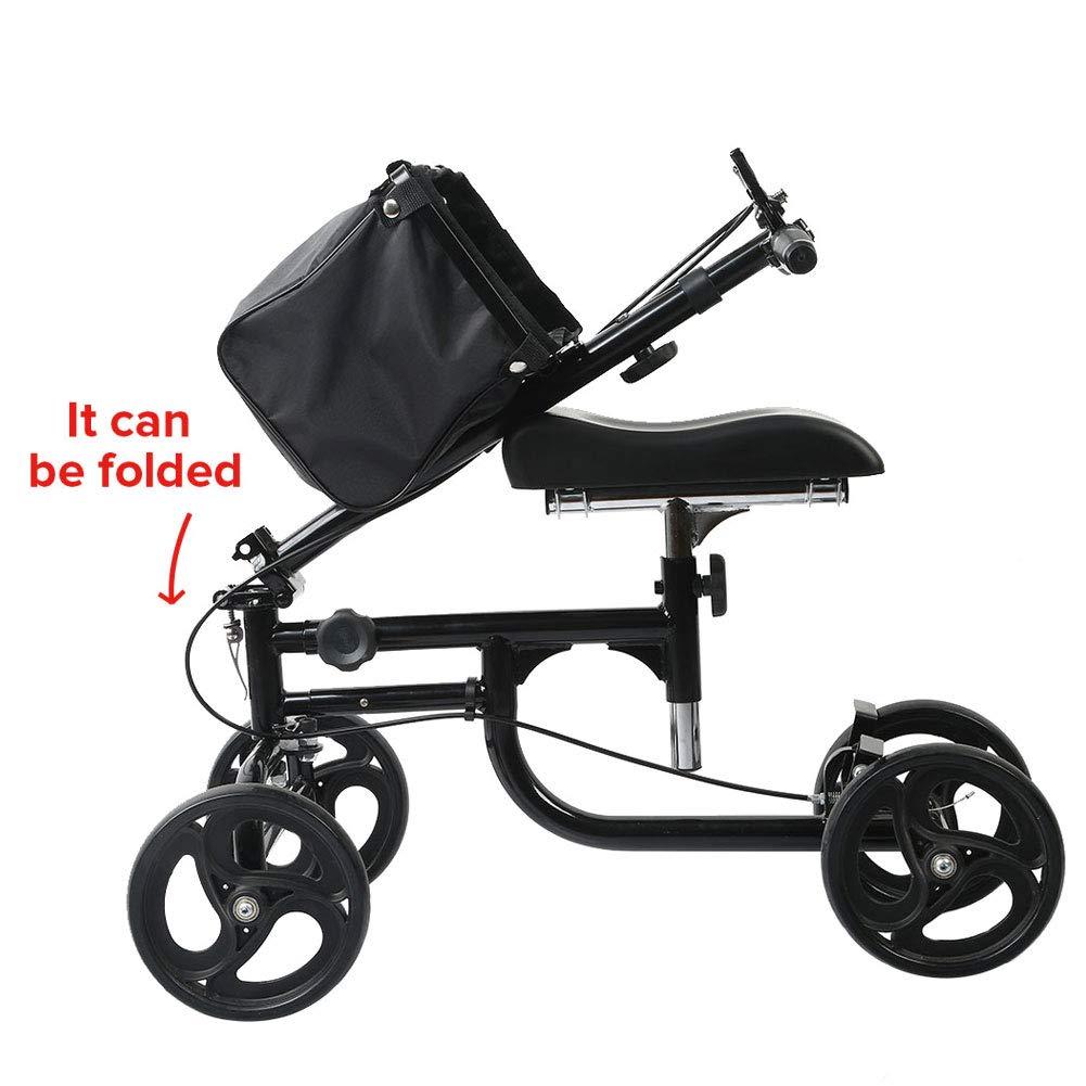 ELENKER Steerable Knee Walker Deluxe Medical Scooter for Foot Injuries Compact Crutches Alternative Black by ELENKER (Image #3)