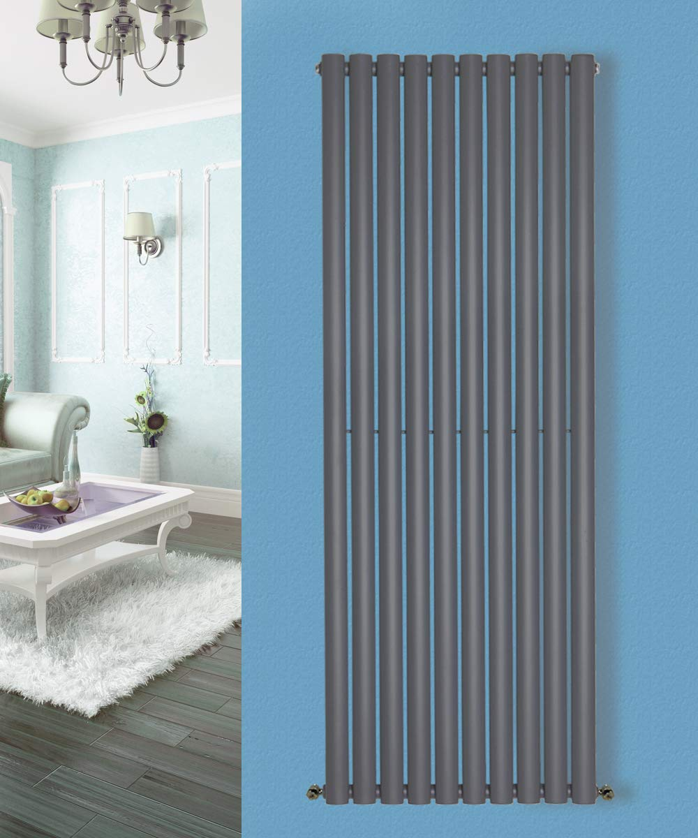 NRG Vertical 1800x472 Oval Radiator Bathroom Central Heating Single White Manufactured for NRG-Radiator