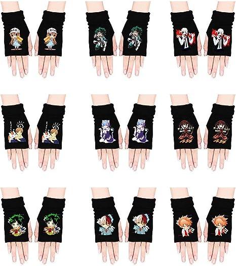 Fingertoys Japanische Anime S/ü/ß Cartoon Strickhandschuhe Attack On Titan Attack On Titan//Naruto//My Hero Academia Weich Warm Cosplay Handschuhe Unisex Fingerlose Handschuhe f/ür Anime Ventilatoren