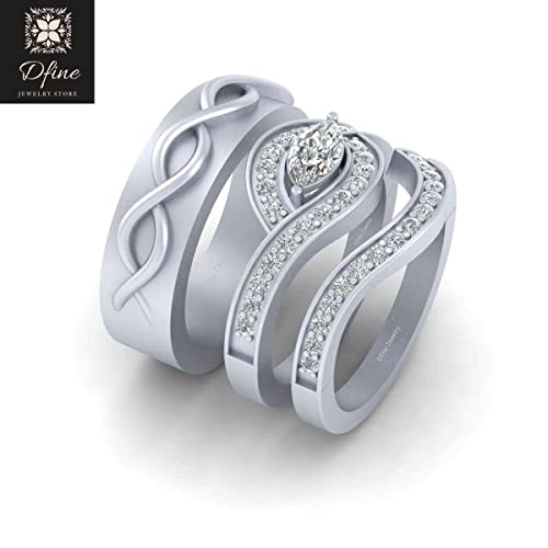 Matching Wedding Rings For Bride And Groom.Amazon Com His And Her Matching Engagement Ring Wedding Band Set
