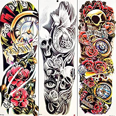 Tatuaje Falso Tatuaje Colorido Tatuaje Temporal Negro Demonio Flor ...