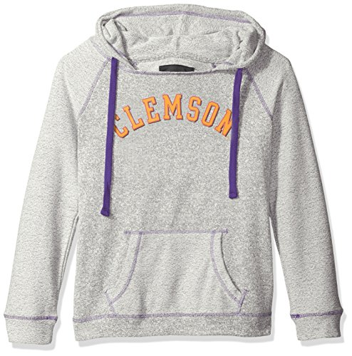 Tigers Womens Hoodie Sweatshirt (Camp David NCAA Clemson Tigers Women's Reverse Sleeve and Pocket Hoodie, Large, Pepper/Purple)