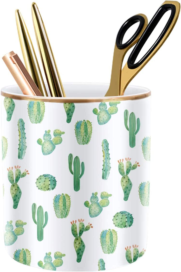 WAVEYU Pen Pencil Holder, Multi-Purpose Holder for Desk Pencil Cup for Girls Boys Kids Durable Ceramic Desk Organizer Makeup Brush Holder Ideal Gift for Office, Classroom, Home, Cactus