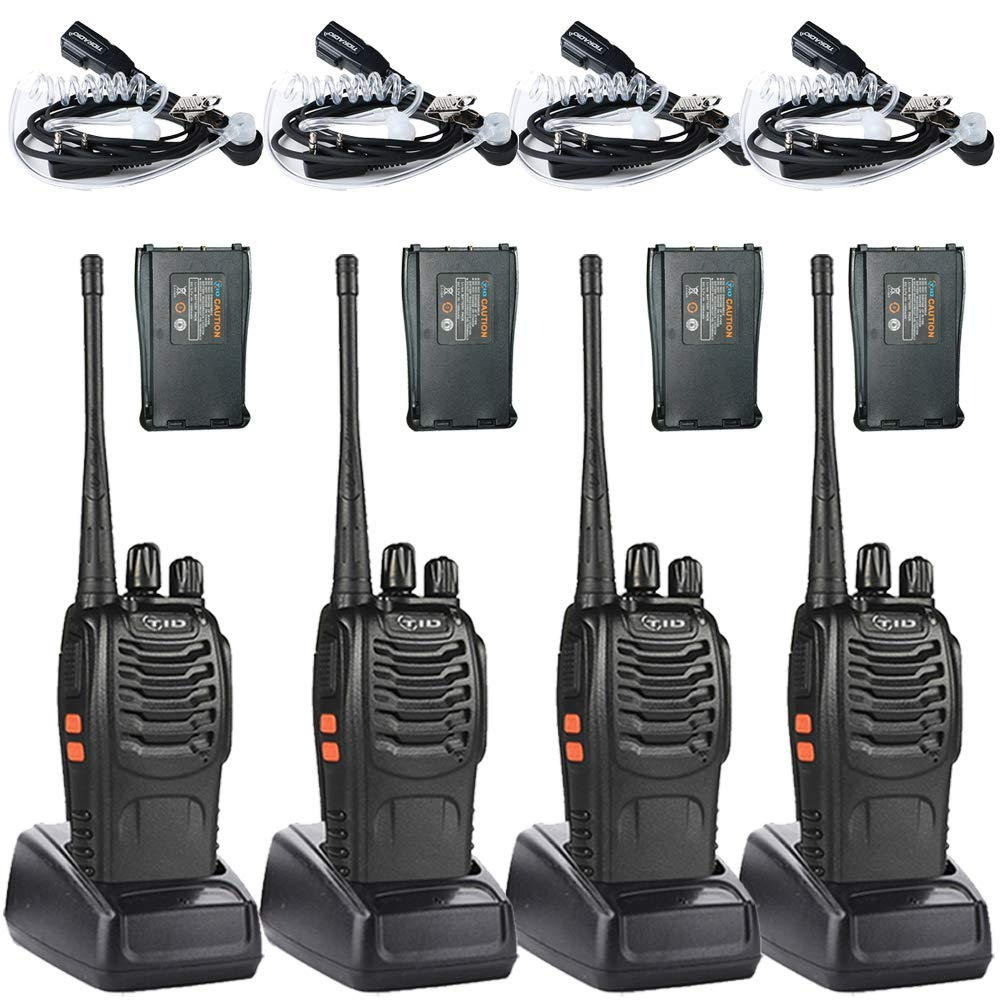 Long Range Walkie Talkies Two Way Radio with Additional 4 Backup Battery 2 Way Radio UHF Radio VOX Walkie Talkies for Adults 4 Pack