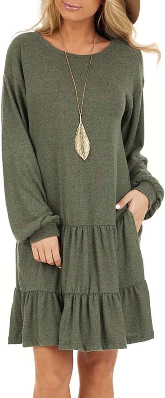 AUSUN Women's Long Sleeve Ruffle Swing Dress Tie Waist Tunic Pullover Sweater Dresses with Pockets