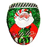 Baiyu Santa Claus Printed Toilet Seat Lid Cover Mat Christmas Decoration Bathroom Decor Xmas Gift Size 43*48cm--A