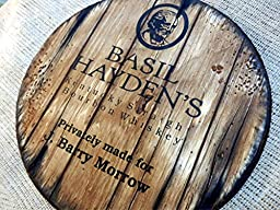 Personalized decorative Sign - whiskey barrel top | Handpainted Basil Hayden\'s Bourbon artwork and your additional message on a distressed wood sign | Rustic wall decor
