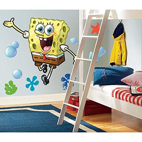 MN 23 Piece Kids Yellow Brown White Spongebob Squarepants Wall Decals Set, Cartoon Themed Wall Stickers Peel Stick, Fun Animated Sea Water Ocean Bubbles Decorative Graphic Mural Art, Vinyl (Spongebob Decal Set)