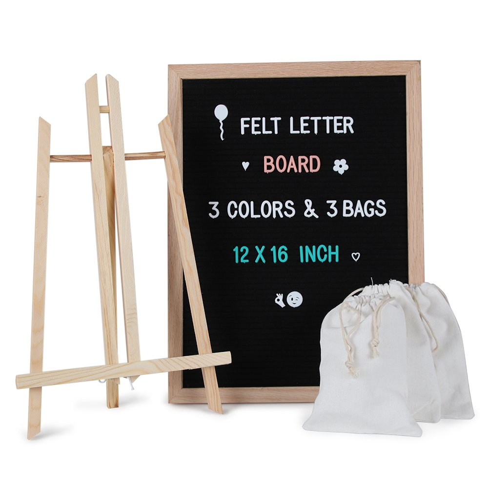 Letter Board - 12 x 16 Black Felt Letter Boards with 678 Letters,Changeable Message Board Oak Wood Frame with Mounting Hook,Stand and Canvas Bag