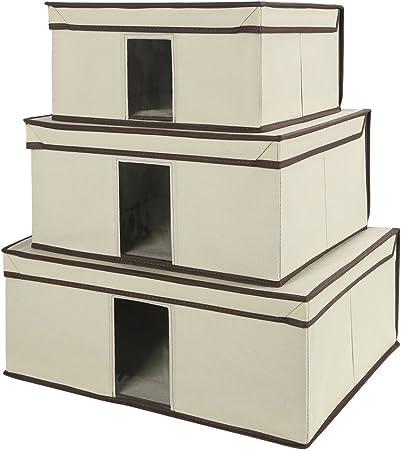 Cajas de almacenamiento, juego de 3 plegable caja de almacenamiento de tela con tapa y ventana transparente, mantas ...