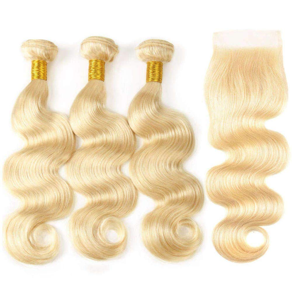 613 Blonde Bundles With Closure Brazilian Blonde Body Wave 3 Bundles With 4x4 Lace Closure 100% Remy Human Hair Extensions Can be Dyed Any Color (18/20/22+16 Inch, 613) by KAMEILUN