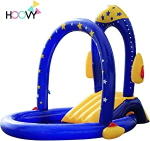 Rocket Pool with Water Slide   Best Inflatable Playground with Slides for Infant & Children   Big Outdoor Toys for Summer Activity Swimming   Portable Backyard Pool for Kids & Toddlers