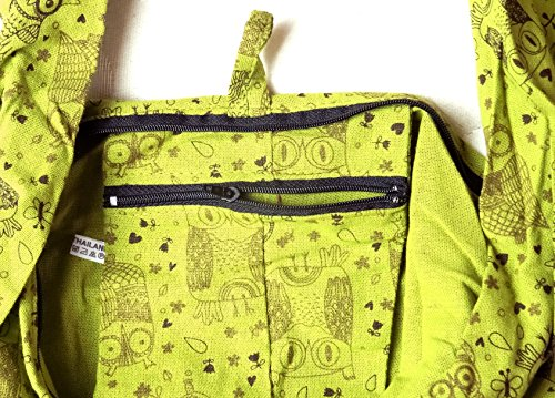 Bandoulière hibou femme Sac vert Ethnique main fourre à bohème homme Boho Artisanal shoulder chouette Coton bag tout Coton Besace Sac dxwpUd