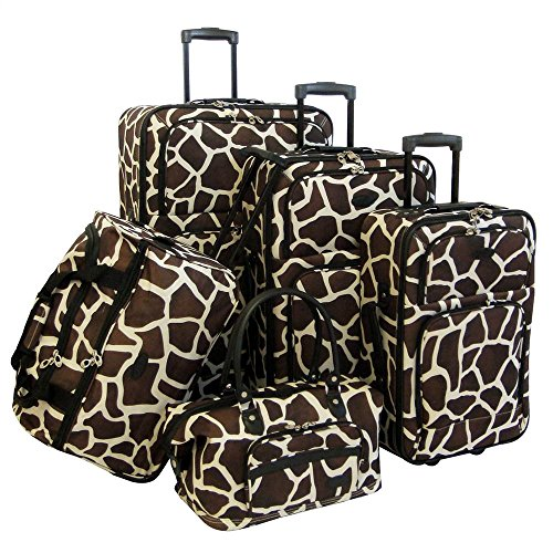american-flyer-luggage-animal-print-5-piece-set-giraffe-brown-one-size