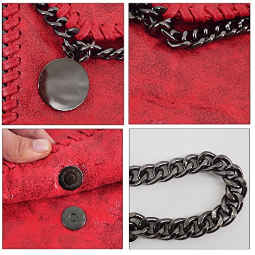 Amily PU Leather Chain Bag Cross Body Bag Hobo Handbag Clutch Shoulder Bag Messenger Bag Purse Pouch for Women Red by Amily (Image #4)