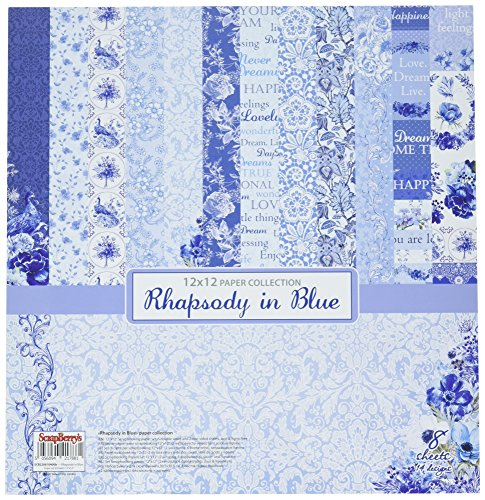 Scrapberry's 6 Double 2 Single-Sided Rhapsody in Blue Paper Pack 12