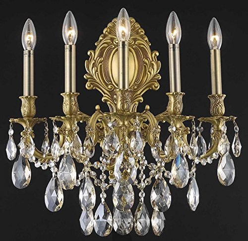 - Elegant Lighting 9605W21FG/SS Swarovski Elements Clear Crystal Monarch 5-Light Crystal Wall Sconce, Finished in French Gold with Clear Crystals Model-9605W21FG/SS