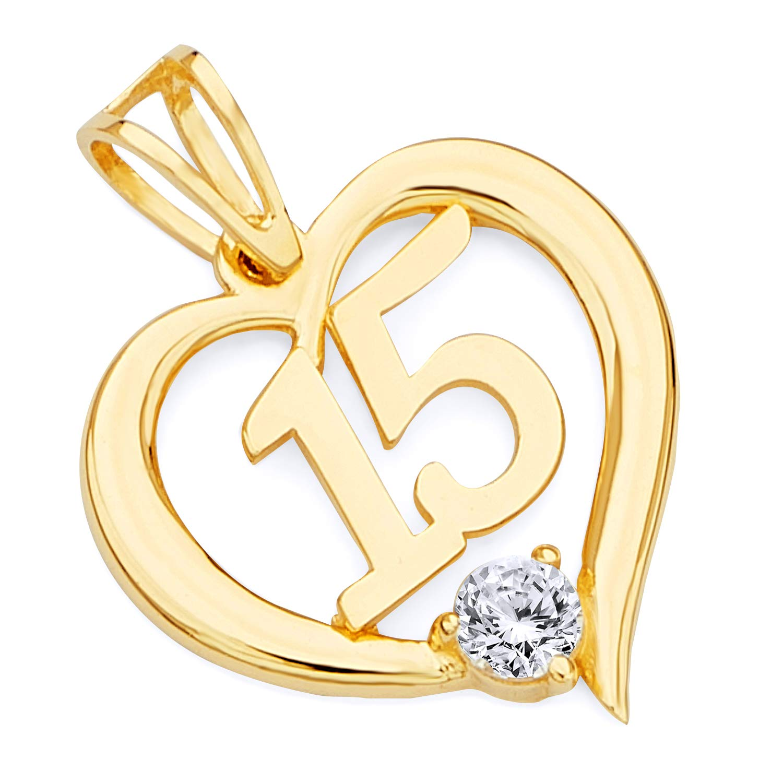 TWJC 14k REAL Yellow Gold CZ 15 Years Heart Charm Pendant