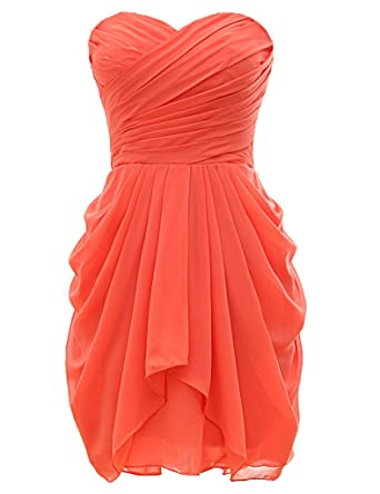 H.S.D Strapless Ball Gown Short Chiffon Bridesmaid Dress Prom Dresses at Amazon Womens Clothing store: