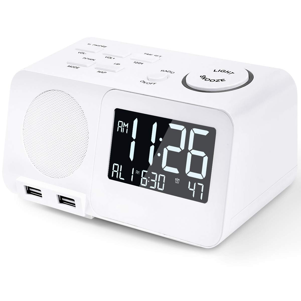 Alarm Clock Radio FM Digital Led Display Radio with USB Port Dimmer Snooze  Sleep Timer Dual Alarms for Bedroom