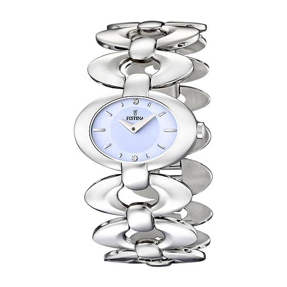 Festina F16547/2 - Reloj analógico de mujer de cuarzo con correa de acero inoxidable plateada: Festina: Amazon.es: Relojes