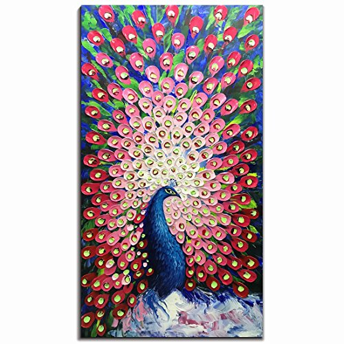 V-inspire Paintings, 24x48 Inch Modern Abstract Painting Red Peacock in Plume Oil Hand Painting 3D Hand-Painted On Canvas Abstract Artwork Art Wood Inside Framed Hanging Wall Decoration For Living Roo (Oil Paintings On Canvas)