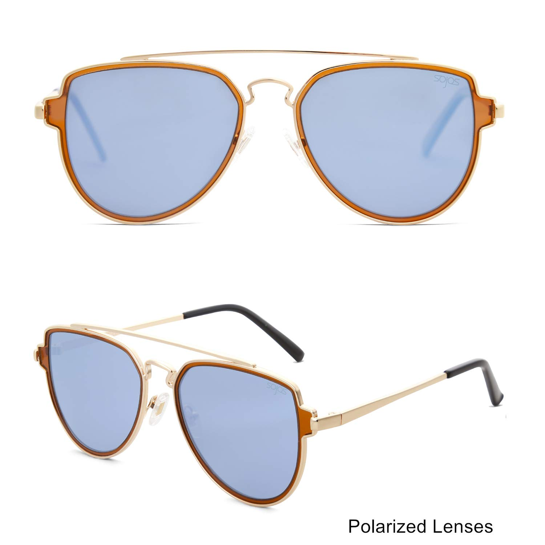 ce527458325cd Amazon.com  SOJOS Fashion Polarized Aviator Sunglasses for Men Women  Mirrored Lens SJ1051 with Gold Frame Dusty Blue Mirrored Polarized Lens   Clothing