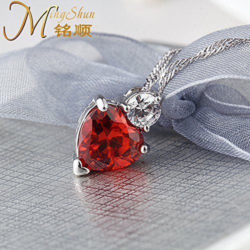 TKHNE Genuine 925 sterling silver necklace pendant with garnet red spar woman can love necklace pendant shaped fashion crystal gem