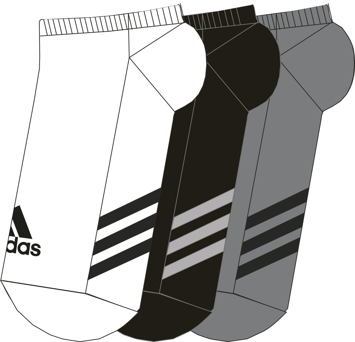adidas Golf Men's 3-Pack No Show Sock, Black/Grey Two/White, 11-14